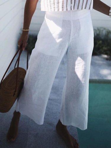 Casual Plain Cotton Pants