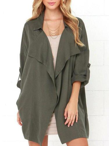 Tailored Collar Casual Solid Color Coat