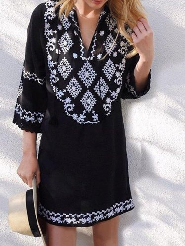 Black Geometric Boho Casual Dresses