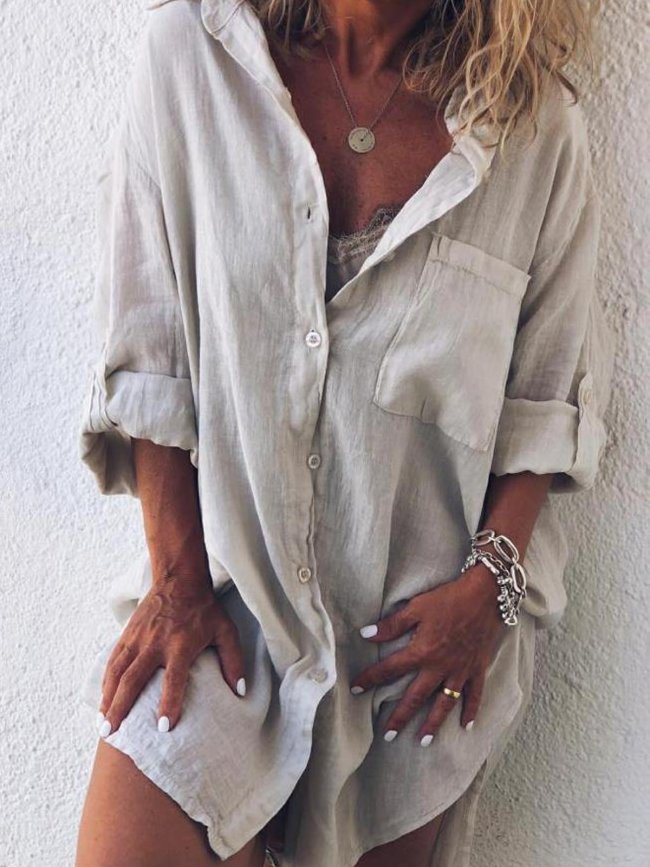 V Neck Buttoned Long Sleeve Blouses&shirts