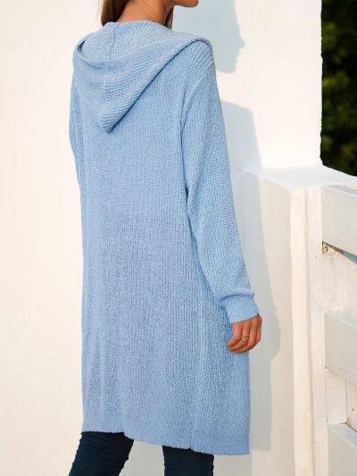 Long Sleeve Simple Hooded Shift Cardigan