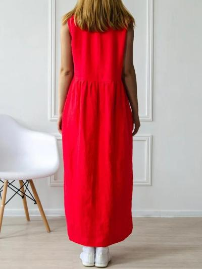 Cotton-blend Linen V-neck Casual Dress