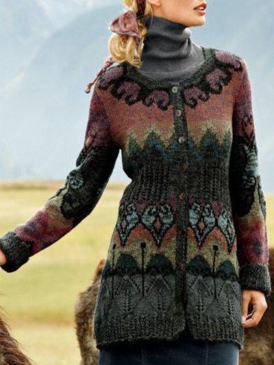 Vintage Tribal Long Sleeve Printed Cardigan
