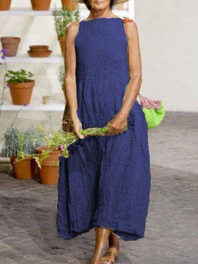 Sleeveless Casual Cotton-Blend Dresses