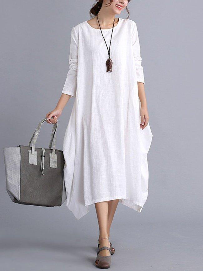 Oversized Round Neck Pocket  Plain Shift Plus Size Dress