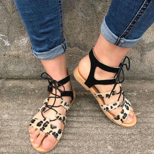 Women Casual Leopard Lace Up Flat Sandals