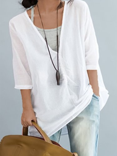 Plus Size Women Solid Front Button With Gray Sling Tops Loose Casual Midi Cotton Shirt
