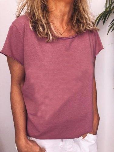 Cotton-Blend Crew Neck Casual Shirts & Tops