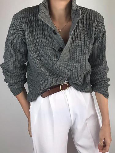 Casual Pure Color Button Tachibana Sweater