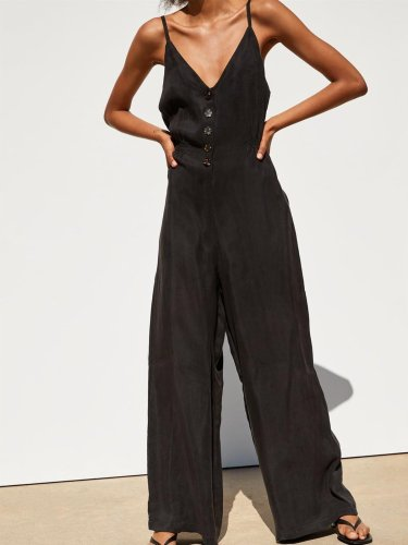 Black V Neck Buttoned Sexy Cotton-Blend Pants