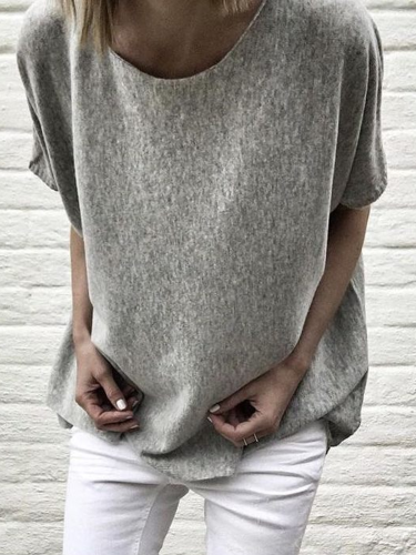 Crew Neck Casual Cotton-Blend Shirts & Tops