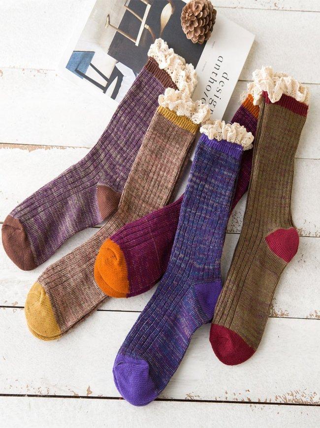 Retro Plain Lace Warm Vintage Casual Pile Socks
