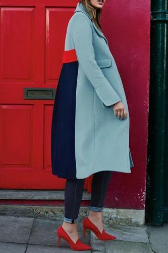 Fashion Lapel Plain Color Blocking Woolen Long Coats