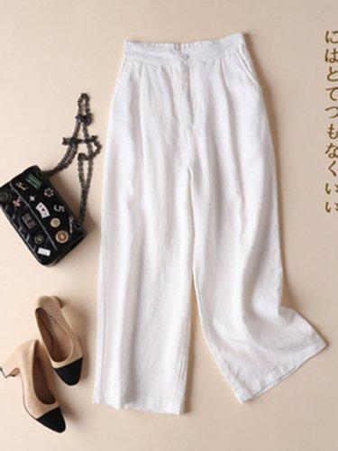 Plus Size Solid Casual Linen Loose Pants