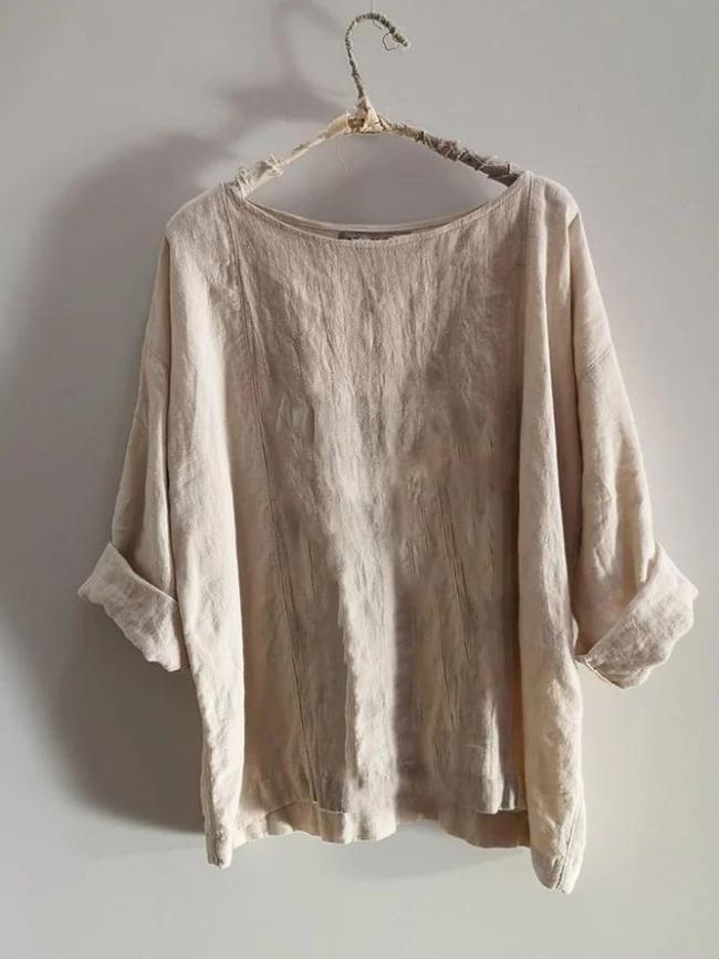 Khaki Linen Long Sleeve Shirts & Tops