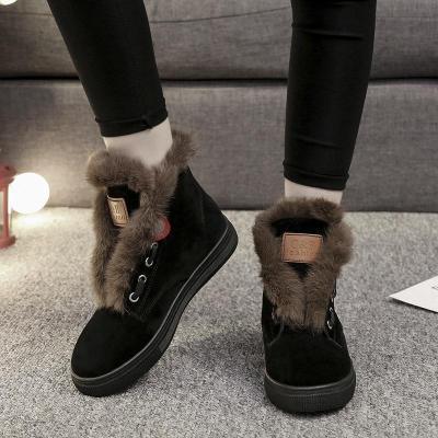 Vintage Round Toe Platform Winter Suede Daily Boots