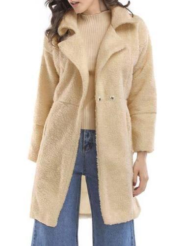 Paneled Long Sleeve Shawl Collar Solid Coat