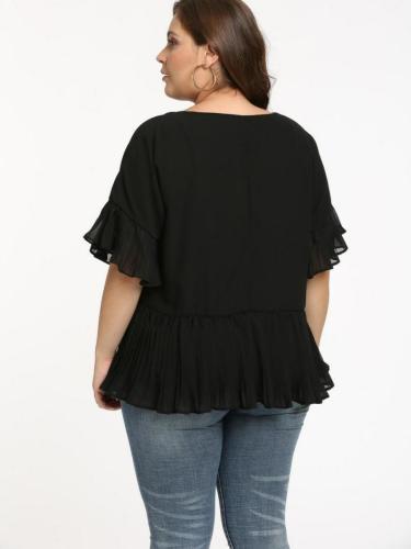 Black Short Sleeve Chiffon V Neck Casual Tops
