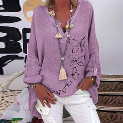 Casual Cotton Linen Butterfly Print Loose Tops Blouse Shirt