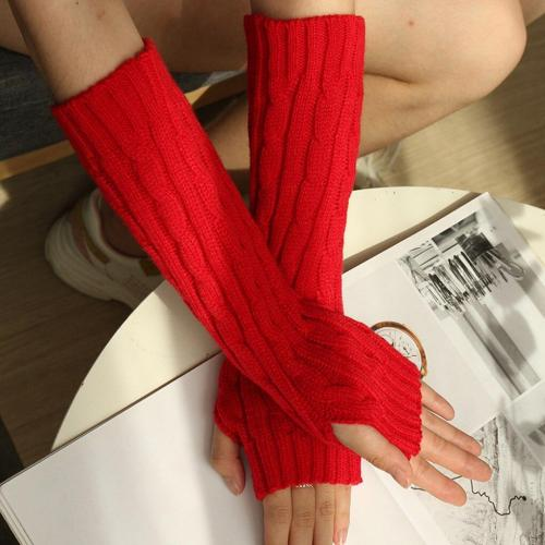 Fashion Long Gloves Autumn Winter Knit Arm Warmer Women