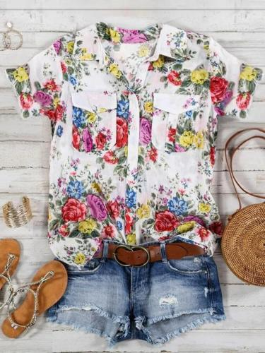 Buttoned Floral Formal Shift Shirt