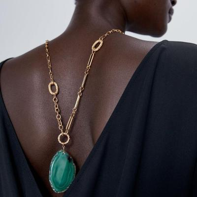 Green Geometric Resin Pendant Necklace Women Metal Chain Long Necklace