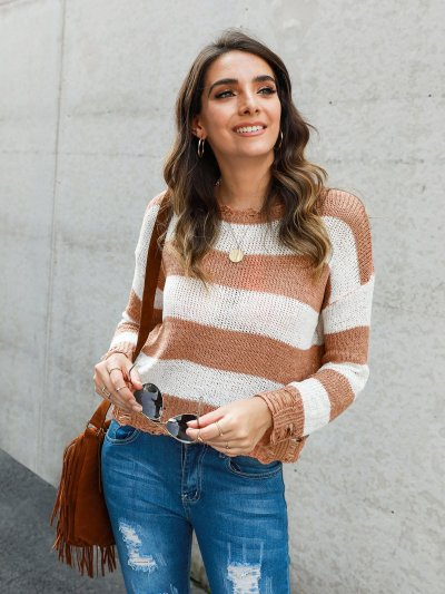 Long Sleeve Stripes Knitted Shirts & Tops