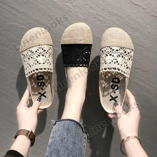 Sandals Slippers Women Summer Retro Linen Lace Hollow Breathable Women's Shoes