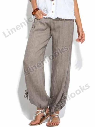 Women Solid Buttons Cotton and Linen Casual Loose Trouser Wide Leg Pants High Waist Pants