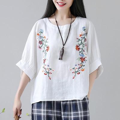 New Summer Women Plus Size Loose Flower Print Half Lantern Sleeve Tops