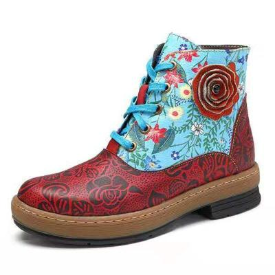 Ethnic style flower flat with zipper boots