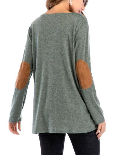 Hot Sale Solid Color Round Neck Double Row Button Collage T-shirt