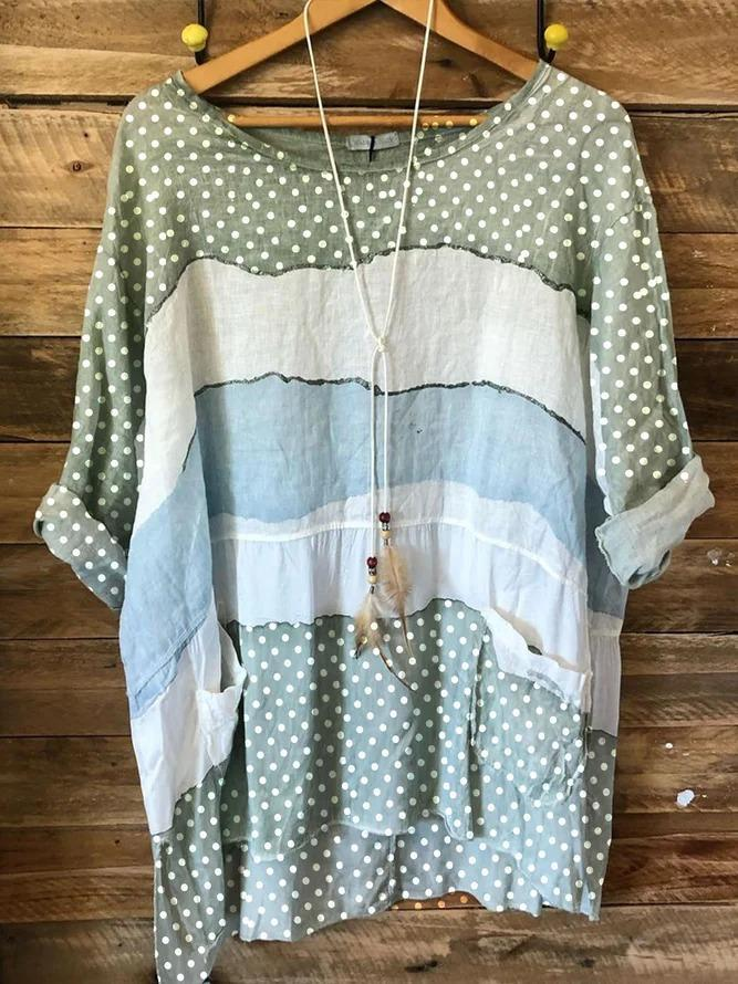 Green 3/4 Sleeve Cotton Polka Dots Shirts & Tops