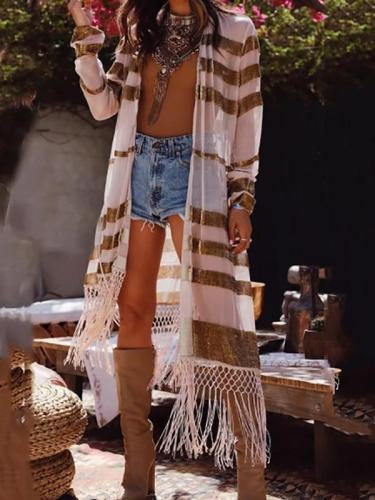 Women's Fashion Stripe Sun-Protective See-Through Tassel Cardigan