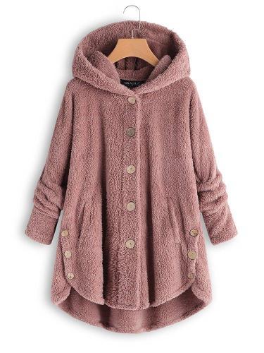 Cozy Fleece Hooded Sherpa Coat Symmetrical Button Teddy Bear Coats