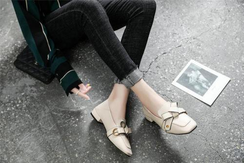 Natural Real Leather Bow Square Toe Flat Boat Shoes