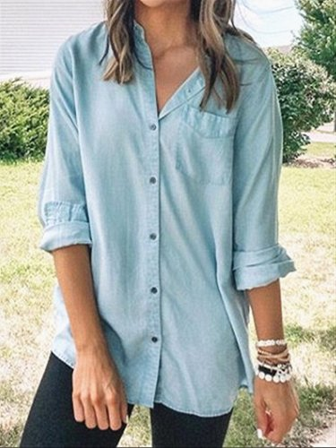 Blue Daily Casual Cotton Blouse