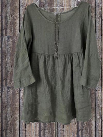 Crew Neck Batwing Plain Cotton-Blend Shirts & Tops