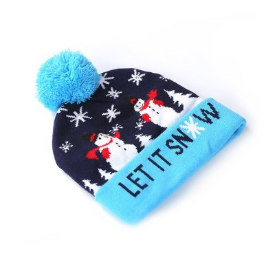 Knitted hats decorated with LED lights for adult children Christmas hats