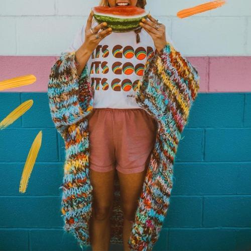 Cute A Lapel Knit Printed Color Cardigan