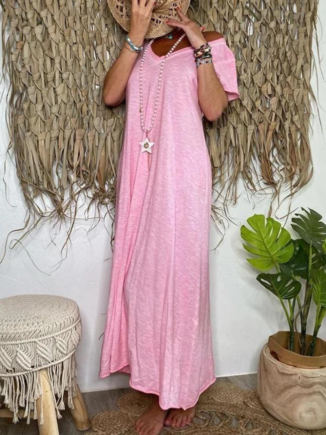 Cotton V Neck Plain Dresses