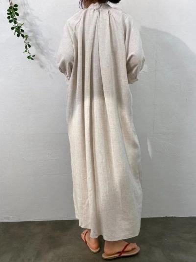 3/4 Sleeve Plain Shift V Neck Dresses