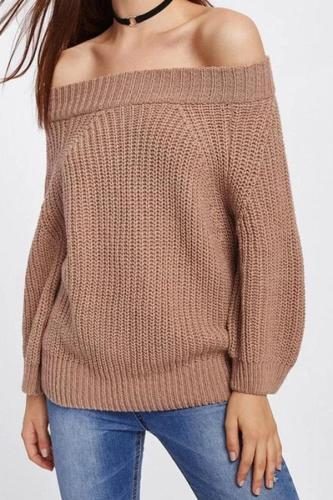 Solid Color One Word Collar Long Sleeve Sweater