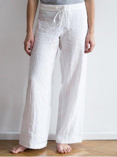 Casual Plain Linen Pants