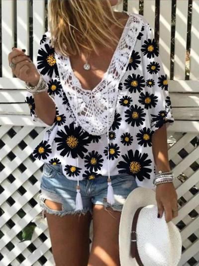 Retro holiday casual loose little daisy V-neck top