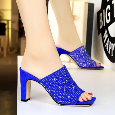 Summer Women Fashion Slippers High Heel Square Open Toe Slippers