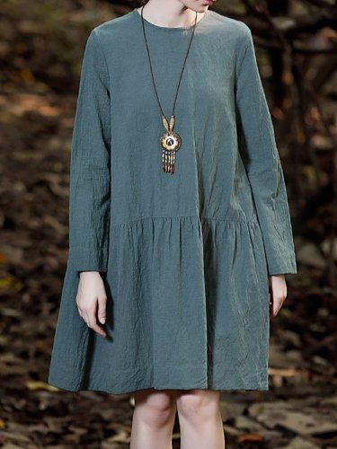 Round Neck Women Cotton Plain Basic Casual Dress
