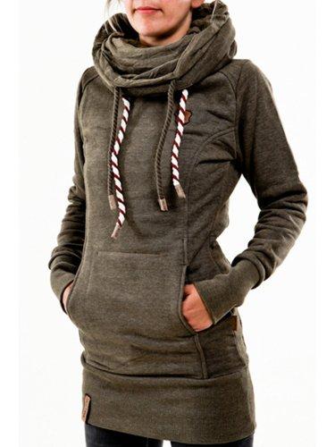 Women Cowl Neck Hoodie Cotton-blend Simple Long Sleeve sweatshirt
