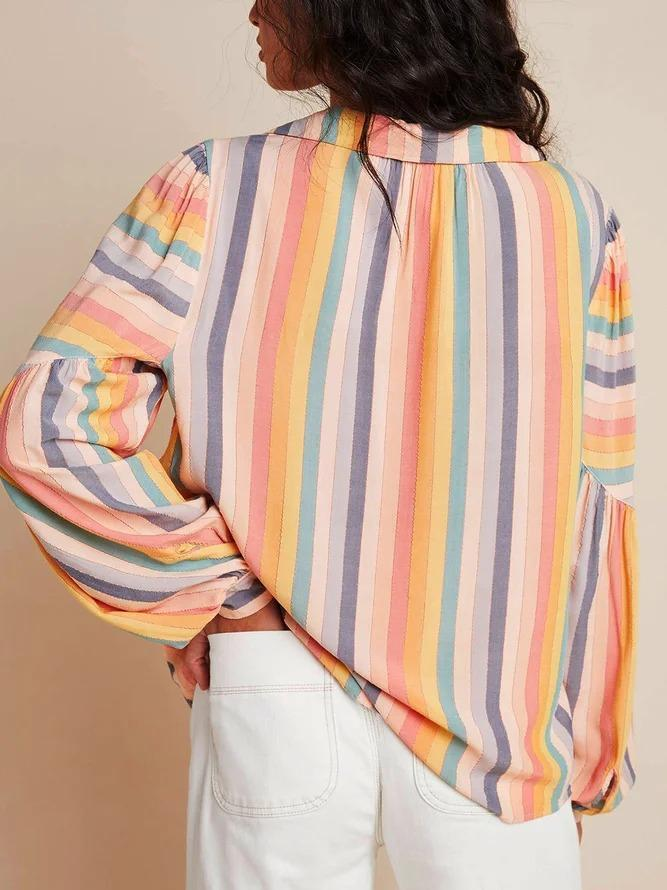 Western style casual loose plus size striped shirt and top