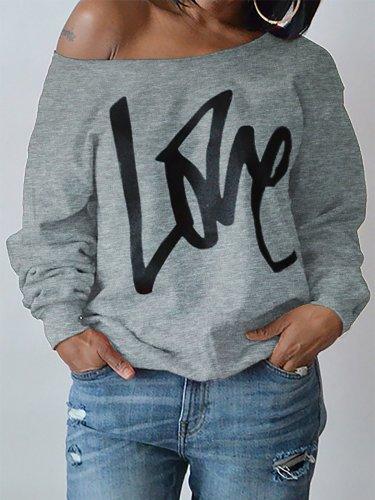 Womens Round Neck LOVE Printed Hoodie